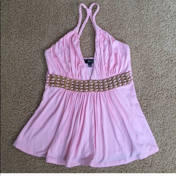 Sky Tops - Sky Pink Top w/ Braided Leather & Chain Detail